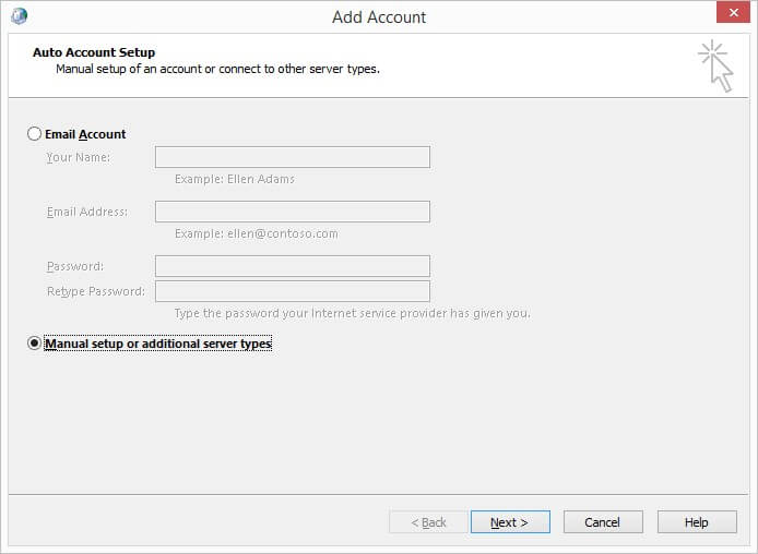 add account manual setup