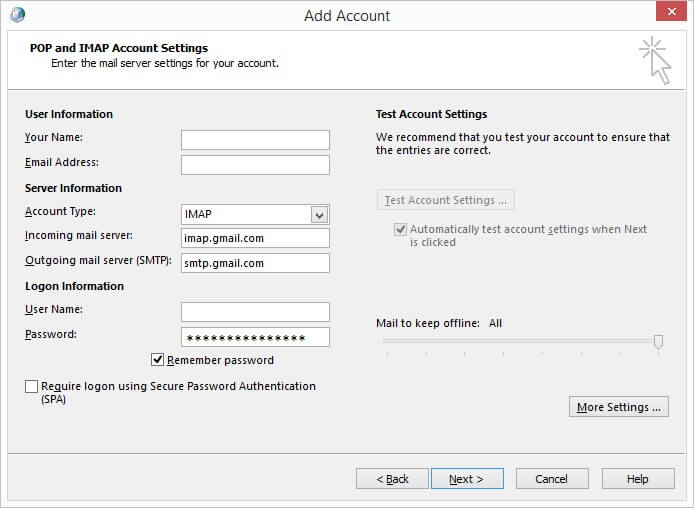 add account more settings