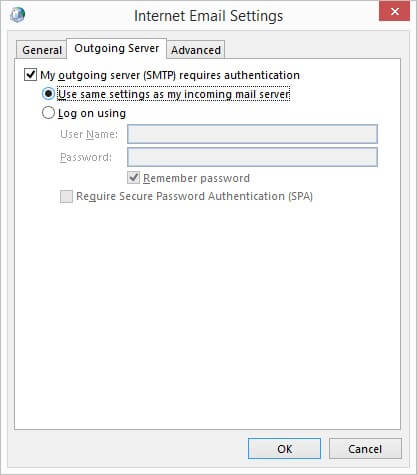 settings for incoming mail server