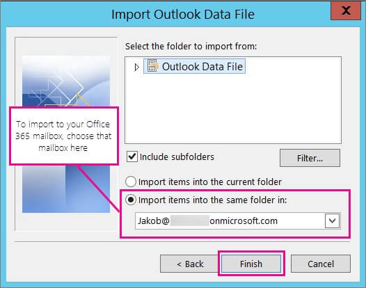 Import mail items and click Finish