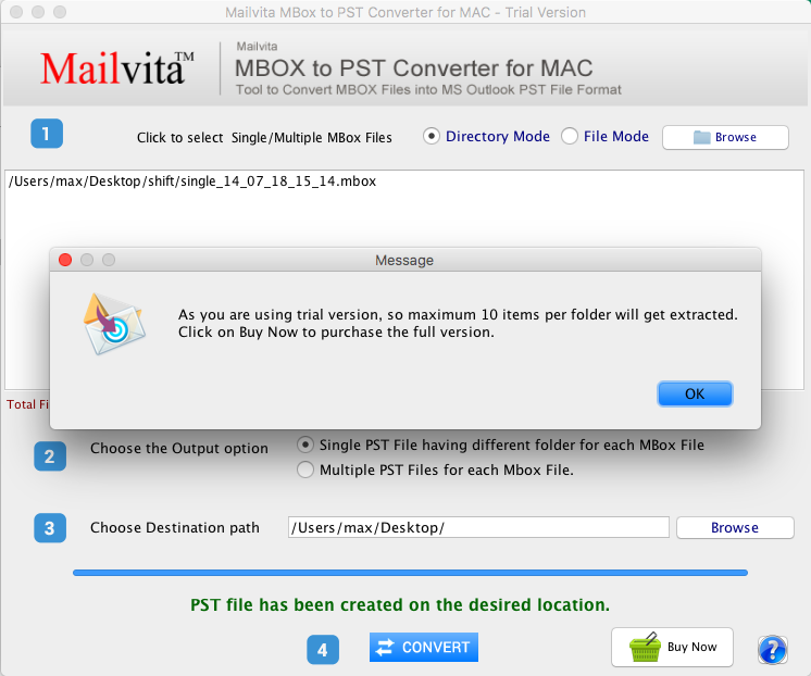 Convert MBOX to PST for mac